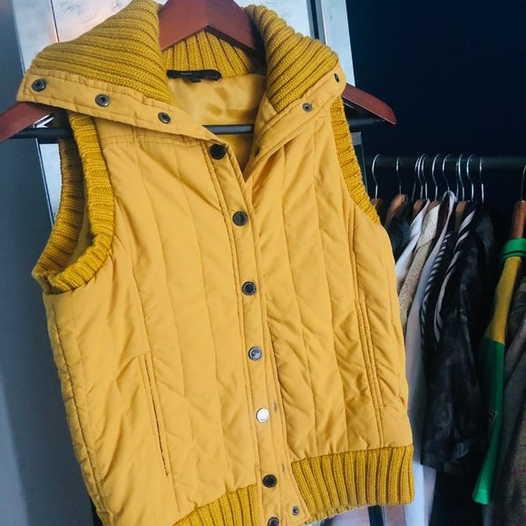 Golden Yellow Puffer Vest BCBGMAXAZRIA